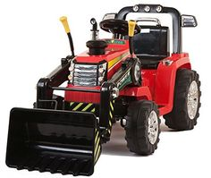 Kids 12v Electric / Battery Ride on Tractor / Digger Red