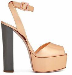 Giuseppe Zanotti Platform High Heels - Rose gold heeled sandals with color block heel Gold Leather, Patent Leather, 7 Inch Heels, Black Sandals, Heeled Sandals, Rose Gold Heels, Giuseppe Zanotti Heels, Wedding Heels, Platform High Heels