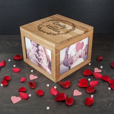 50th Anniversary Gift - Personalized Wooden Photo Box For Couples, $69.99 (http://store.anniversary-gifts-by-year.com/personalized-wooden-photo-box-for-couples/)