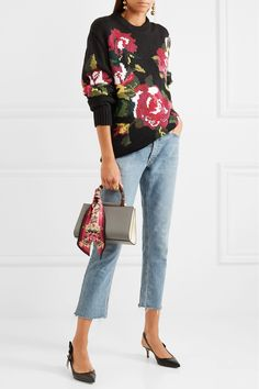 Dolce & Gabbana | Oversized intarsia wool and cashmere-blend sweater | NET-A-PORTER.COM