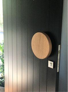 Large Round Entry Door Handles In Various Timber Species Modern Entrance Door, Front Door Entrance, Entry Doors, Wood Doors, Wood Door Handle, Front Door Handles, Timber Front Door, Black Front Doors, Front Door Design