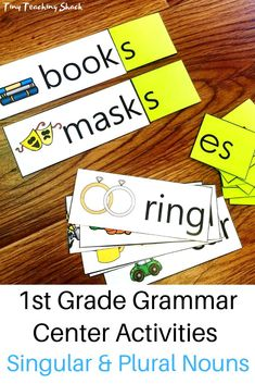 first grade hands-on learning singular and plural noun activity to practice s, es, and ies endings- perfect for a literacy center Grammar Activities, Teaching Grammar, Grammar Lessons, Grammar Skills, Montessori Activities, Educational Activities, Singular And Plural Nouns, Nouns And Adjectives, Activity Centers