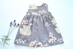 Lilac Swan Print Baby Dress.  Baby Dress in Beautiful Fabric.