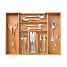 Shop for Seville Classics Bamboo Expandable 7 Compartment, 2 Adjustable, Flatware Utensil Cutlery Drawer Tray Organizer. Get free delivery On EVERYTHING* Overstock - Your Online Kitchen & Dining Outlet Store! Kitchen Drawers, Kitchen Pantry, Kitchen Tools, Kitchen Gadgets, Kitchen Ideas, Kitchen Products, Kitchen Decor, Utensil Trays, Utensil Holder