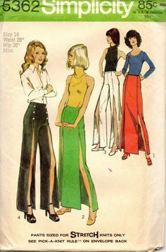 Simplicity 5362 1970s  Misses Deep Front Slit  Pants  for stretch knits and maxi skirt pattern womens vintage sewing pattern and by mbchills