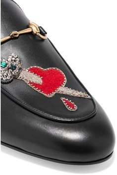 Gucci - Princetown Appliquéd Embellished Leather Slippers - Black - IT39.5