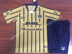 c2c243e1a37 2018-19 Pumas UNAM Away Yellow Kids Youth Soccer Uniform