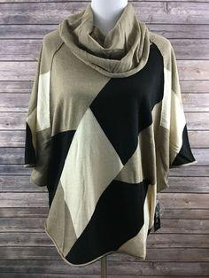Style & Co. Women's Cowl Neck Colorblock Capelet Cowl Neck Sweater Medium…