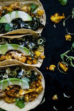 Turmeric Cauliflower & Crispy Kale + Sprout Tacos by Sprouts & Chocolate | Jessica DeMarra #vegan #tacos #cauliflower-2