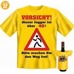 Geburtstags Set T-Shirt + Mini für die Flasche <-> Jogger über 40 <-> Gelb, ein kleines lustiges Geschenk Goodman Design® (*Partner-Link)