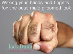 Male waxing for hairy hands and fingers.. more a more groomed look get those hairs removed!.. especially great for a male grooms treatment. Having a photograph of your wedding band looks so much better without hair!