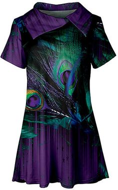 Lily Purple & Green Peacock Feathers Oversize Collar Tunic - Women & Plus Purple Peacock, Peacock Colors, Peacock Theme, Peacock Feathers, Leopard Cake, Body Art Tattoos, African Fashion, Peacocks, Tunic
