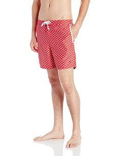 Cancun  Original Penguin Men's Moustache Print Fixed Waist Swim Trunk, Haute Red, 30 *** This is an Amazon Associate's Pin. Details on product can be viewed on Amazon website by clicking the image.