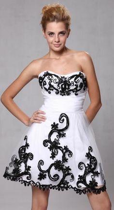 Flower Girl Dresses - Prom Dresses & Dama Dresses - Flower Girl Dresses Discount Cheap Designer Dressf - CD416 - Short White and Black Party Dress