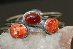 Sterling Silver Coral Bangle  Silver by MyFascinationStreet