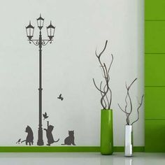 Lamp Cats and Birds Lovely animals DIY wall stickers home decor Jungle Forest theme wall stickers for kids room home decor