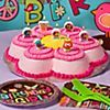 Girls Birthday Cake Bring some flower power to the party table with this daisy cake! Bake the birthday girl's favorite cake in a Daisy Cake Pan and frost it following our Dancing Daisy Cake Decorating How-to directions. Add some cute Hippie Chick Candles in shapes like butterflies, owls and peace signs, then let her make a wish! Serve the cake on Hippie Chick Dessert Plates with matching napkins and forks.