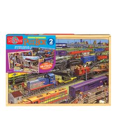 Loving this Trains Jumbo Puzzle Set on #zulily! #zulilyfinds