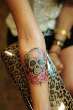 Small girly skull tattoo