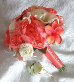 coral calla lily bouquet | Coral and Cream color Peonies, Roses, Plumerias & Calla Lilies Bouquet  every one of my favorite flowers with my favorite color