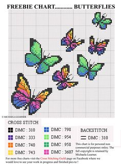 Embroidery Stitches Gorgeous Butterfly Cross-Stitch Chart - I don't usually share cross stitch charts from Russian or Eastern European websites, because I'm pretty sure they are all copyright violations, but at least this one has some kind of cr… Counted Cross Stitch Patterns, Cross Stitch Designs, Cross Stitch Embroidery, Embroidery Patterns, Free Cross Stitch Charts, Hand Embroidery, Cross Stitch Freebies, Cross Stitch Bookmarks, Butterfly Cross Stitch
