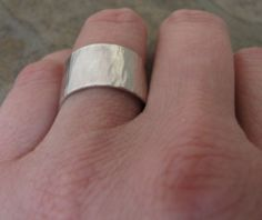 Mens Wedding Band Silver Hammered Wedding Ring Wide by SilverSmack