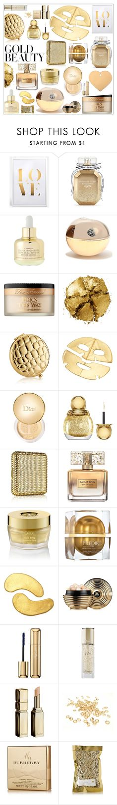 """Golden Girls: Gold Beauty"" by lushxoxo ❤ liked on Polyvore featuring beauty, Victoria's Secret, Korres, Donna Karan, Too Faced Cosmetics, Pat McGrath, Estée Lauder, MZ Skin, Christian Dior and Givenchy"