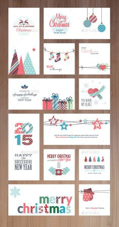 Set of flat design Christmas and New Year greeting cards and banners. The set can be used for several purposes like: websites banners and badges, printed materials – greeting cards, gift tags, labels, stickers, ads, promotional materials.