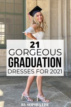 obsessed with every single one of these grad dresses! so cute yet sophisticated Outdoor Graduation Parties, High School Graduation Gifts, Graduation Party Decor, Graduation Caption Ideas, Graduation Pictures, You Look Stunning, Looking Stunning, Graduation Cap Designs, Grad Dresses