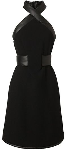 CHRISTOPHER KANE LONDON Leather Trimmed Crepe Wool Halterneck Dress. Why do I not have this?