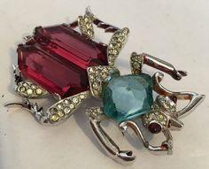 Super Rare Vintage Signed Mazer Blue & Red Rhinestones Bug Pin Brooch #Mazer
