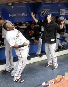 ohhh Pablo Panda Sandoval and Tim Lincecum. Two of my favorite boys San Fran Giants, My Giants, Giants Baseball, San Francisco Giants, Giants World Series, Casey At The Bat, Laughed Until We Cried, Pablo Sandoval, Bye Bye Baby