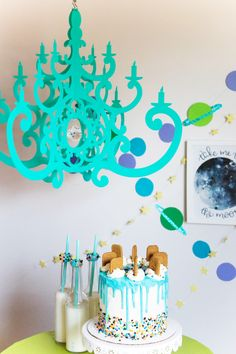 I love you to the Moon and Back Kids Party. Turquoise Fancy Chandelier by NK