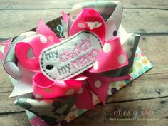 My Mommy/Daddy My Hero Embroidered Dog Tag Boutique Style Hair Bow Army Digital Camo Pink Lavender on Etsy, $10.99