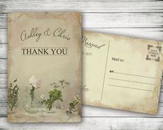 Vintage Watercolor Floral Thank You Postcard  Rustic by VGInvites