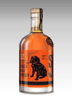 Smoking Dog Whiskey Packaging Design on Behance #whiskey #graphic #design #illustration #packaging