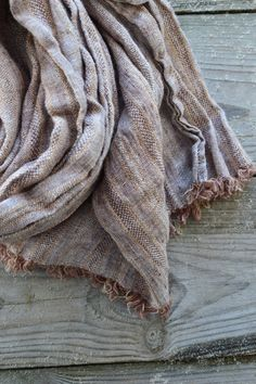 Brown striped scarf Linen men scarf brown women pure by Linaraart