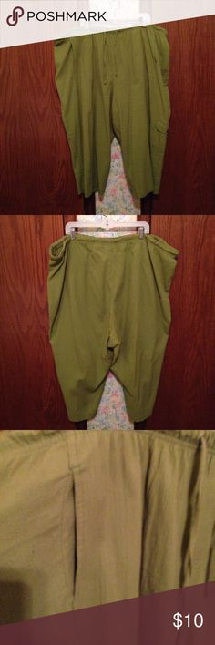Green Dress Capris Dress capris. Adjustable waist and pockets. Loose fit for flowey  effect. Very comfortable. 99% Cotton  1% Spandex. Machine wash in cold water on gentle cycle. Tumble dry on low. I usually took them to the dry cleaners. Very Good Condition. White Stag Pants Capris