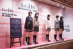 """tokyo-fashion: """" Japanese school uniforms by East Boy on display (and for sale) at Marui in Shibuya."""