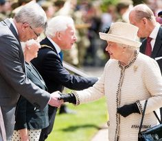 The Queen meets staff at Felsted School in Essex where she unveiled two plaques to commemorate the School's 450th anniversary and completion of a new boarding house 6th May 2014