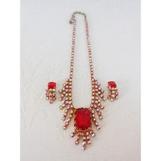 VINTAGE RUBY RED RHINESTONE CRYSTAL NECKLACE CLIP-ON EARRINGS SET for R199.00 on Bid or Buy