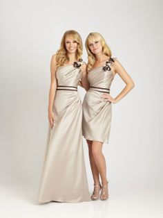 Fashionable with natural waist satin dress for bridesmaid