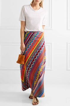 Tory Burch - Clemente Embroidered Cotton Maxi Skirt - Blue - US14