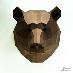 Bear Head, Animal Head, Bear lowpoly , Bear mask ,bear Baloo, papercraft, DIY, low poly, trophy, papermodel, wall decoration