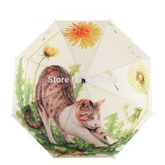 New Arraival Art Oil Painting Umbrella Three Fold paraguas Women Parasol Anti-uv Waterproof Rain Umbrellas Cute Cat