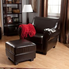 Have to have it. Sonoma Brown Leather Club Chair and Storage Ottoman