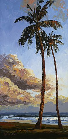 """$145 """"Rhythm and Sway"""" by Erin Dertner Oil ~ 12 x 24 - Impressionist Oil painting of a pair of palm trees on Poipu Beach, Kauai, Hawaii - Signed and Numbered Limited Edition Giclée Reproduction on premium quality paper.  Original Painting shown at Village Galleries Maui"""
