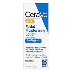CeraVe - Loción facial hidratante AM, 3 oz Loción Facial, Facial Lotion, Facial Sunscreen, Facial Skin Care, Natural Facial, Natural Skin, Body Lotion, Moisturizer With Spf, Moisturiser