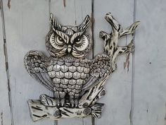 Kitsch Angry Owl Wall Art  Retro Home Decor by happydayantiques, $24.00