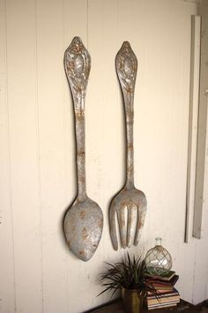 Set of 2 Large Metal Fork & Spoon Wall Decor – Hearts Attic